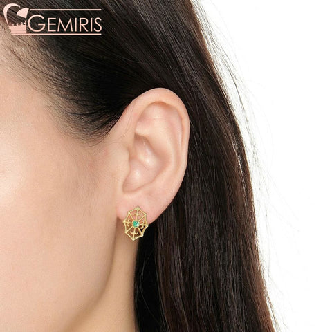 Fawaris 100% Natural Green Emerald Earrings - Earring - $78.99