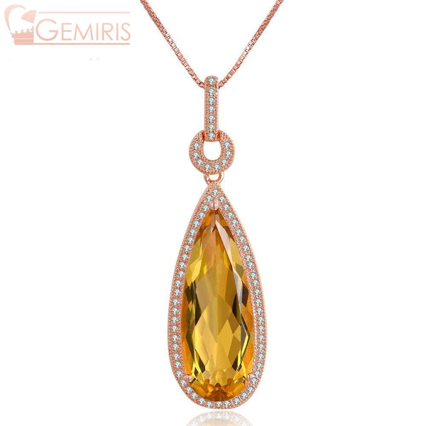 Gienah 100% Natural Citrine Teardrop Pendant - Necklace - $87.99