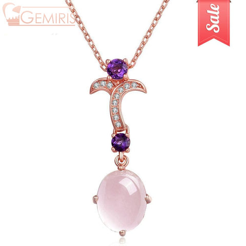 Indus Rose Quartz And Garnet Flower Necklace - Necklace - $39.99