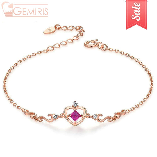 Kraz 100% Natural Ruby Golden Heart Bracelet - Bracelet - $42.99