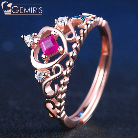 Kraz 100% Natural Ruby Golden Heart Ring - Ring - $58.99