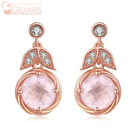Lyra 100% Natural Rose Quartz Blooming Earrings - Earring - $76.99