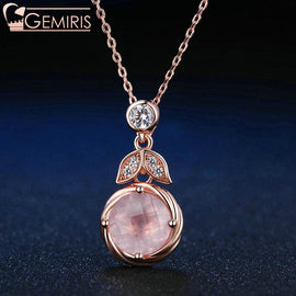 Lyra 100% Natural Rose Quartz Blooming Pendant - Necklace - $75.99