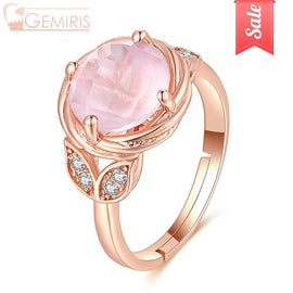 Lyra 100% Natural Rose Quartz Blooming Ring - Ring - $59.99