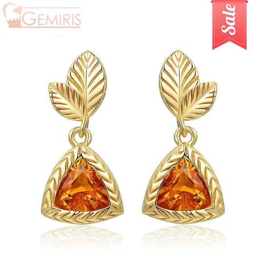 Maia Triangle Citrine Triangle Cut Earrings - Earring - $42.99