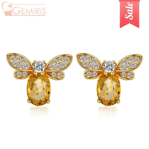 Nekkar Natural Amber Citrine Bee Earring - Earring - $29.99