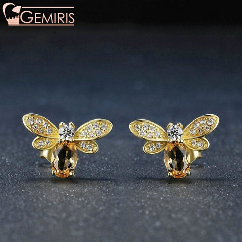 Nekkar Natural Amber Citrine Bee Earring - Earring - $39.99