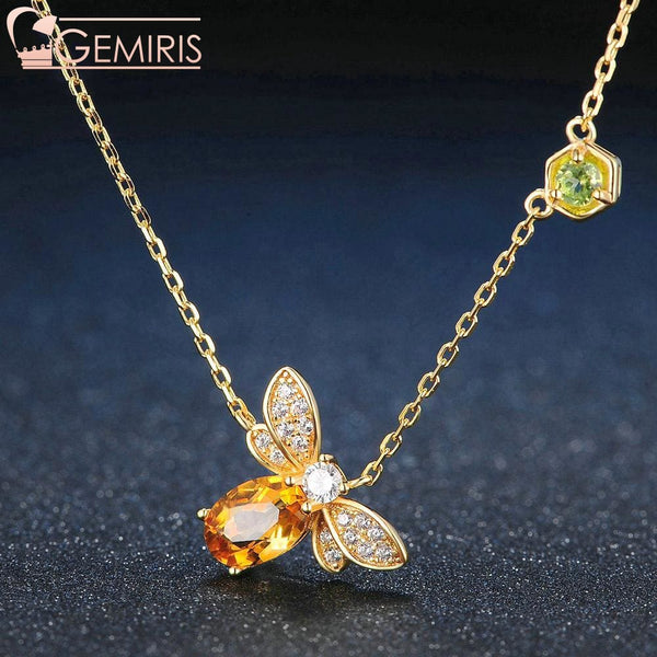 Nekkar Natural Amber Citrine Bee Pendant - Necklace - $59.99