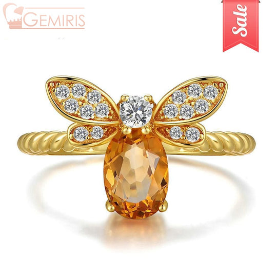 Nekkar Natural Amber Citrine Bee Ring - Ring - $29.99