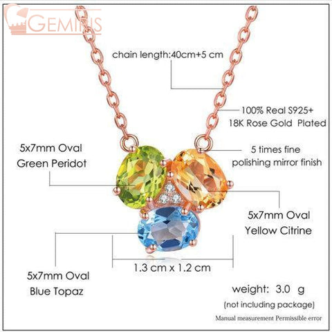 Nodus Natural Tri-Gem Pendant - Necklace - $37.99