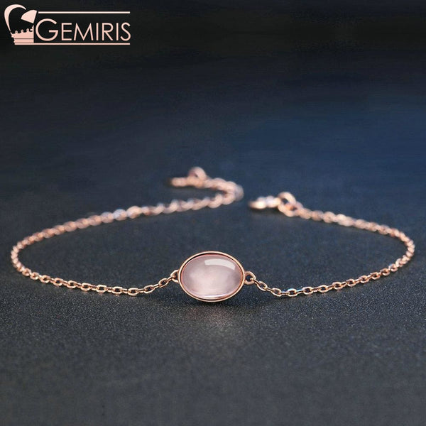 Orion 100% Natural Rose Quartz Oval Bracelet - Bracelet - $42.99