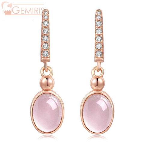 Orion 100% Natural Rose Quartz Oval Earrings - Earring - $36.99