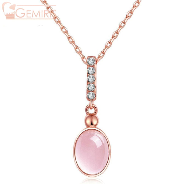 Orion 100% Natural Rose Quartz Oval Necklace - Necklace - $47.99