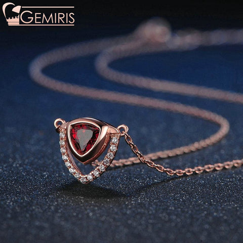 Pegasi 100% Natural Garnet Double Triangle Pendant - Necklace - $24.99