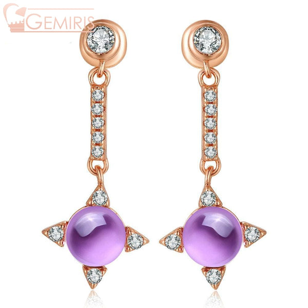 Propus Natural Amethyst Star Earrings - Earring - $64.99