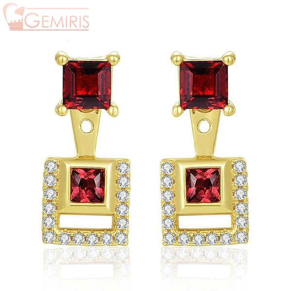 Puppis 100% Natural Garnet Golden Earrings - Earring - $68.99