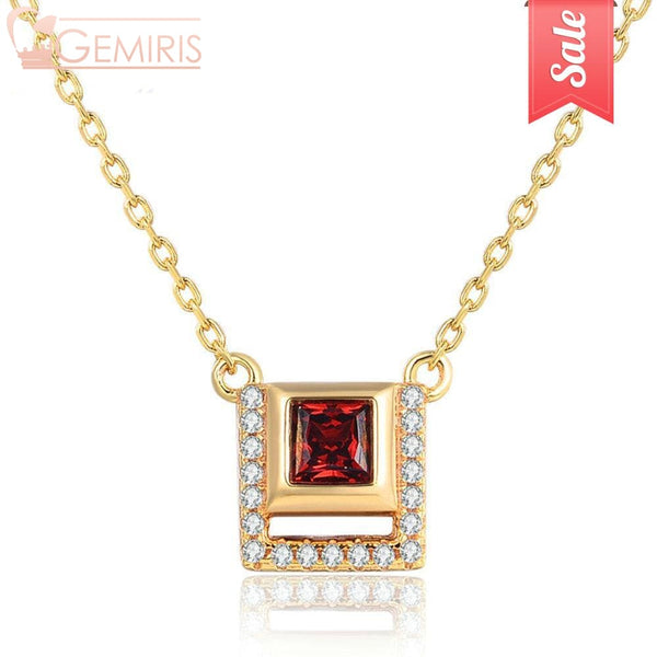Puppis 100% Natural Garnet Golden Pendant - Necklace - $39.90