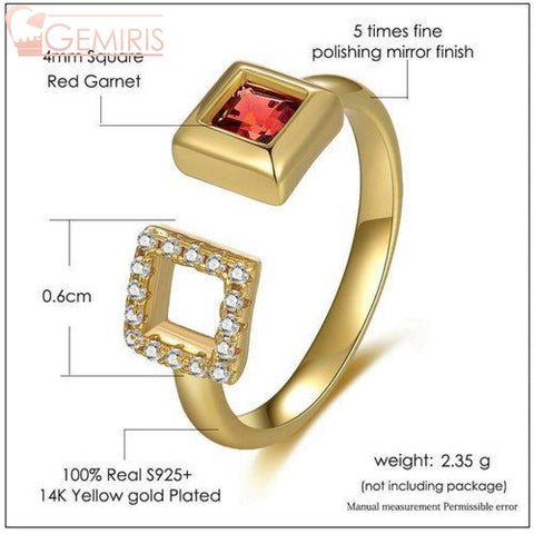 Puppis 100% Natural Garnet Golden Ring - Ring - $42.99