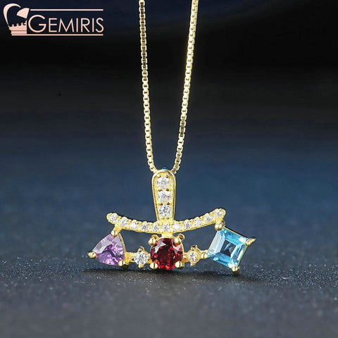 Shalua Multi-Gem Geometric Pendant - Necklace - $54.99