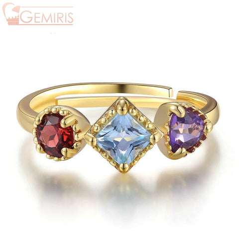 Shalua Multi-Gem Geometric Ring - Ring - $67.99