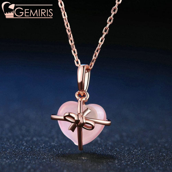 Syrma Natural Rose Quartz Wrapped Heart Pendant - Necklace - $35.99