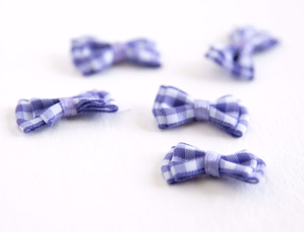 Mini Bows in Gingham Purple