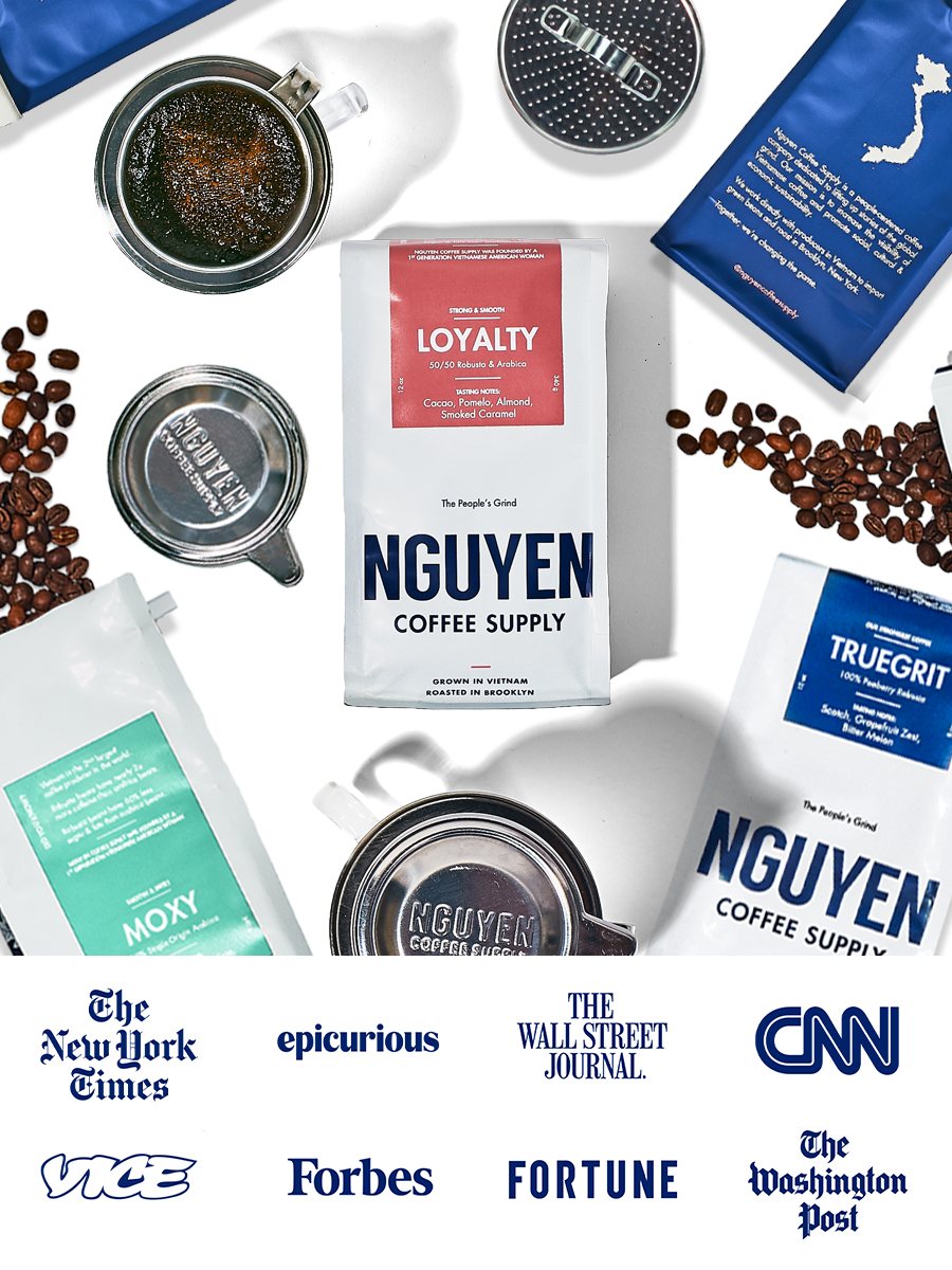 best vietnamese coffee subscription robusta arabica roasted locally in brooklyn woman owned low acidic strong coffee specialty coffee craft small batch roasted sustainable diversity coffee strong cold brew culture POC owned nyc phin coffee phin drip maker