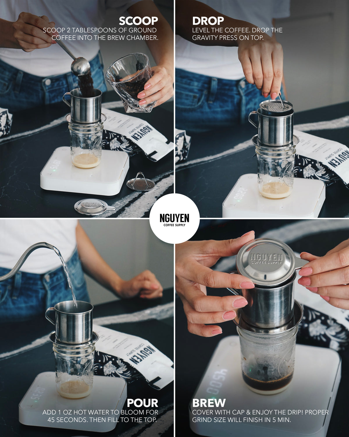 best vietnamese coffee phin drip filter sustainable coffee brew tool stainless steel no paper filter coffee maker direct trade woman owned