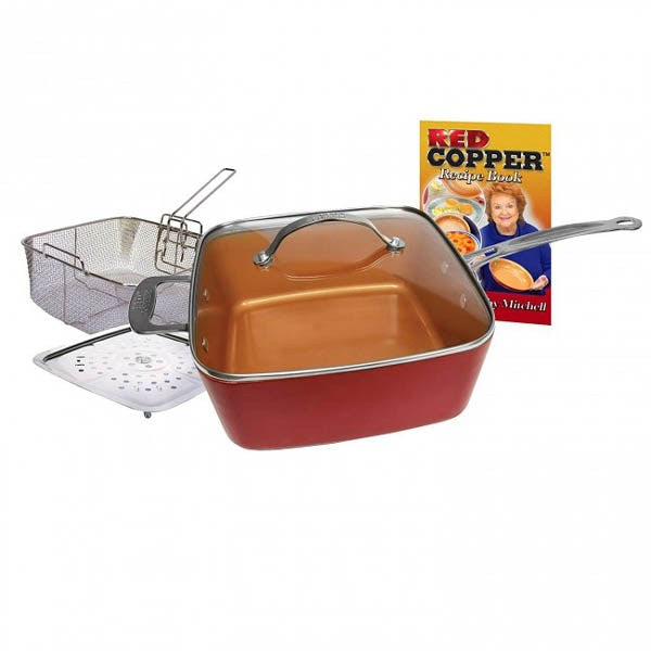 Red Copper Square Pan As Seen On Tv