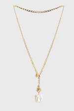 Bling Bar / Grazia Pearl Lariat / Polished Soft Gold/Freshwater Pearl