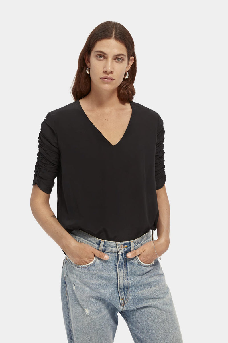Maison Scotch / Easy Viscose Top / Black