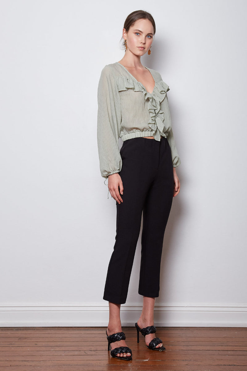 Wish The Label / Optimum Ruffle Blouse / Sage