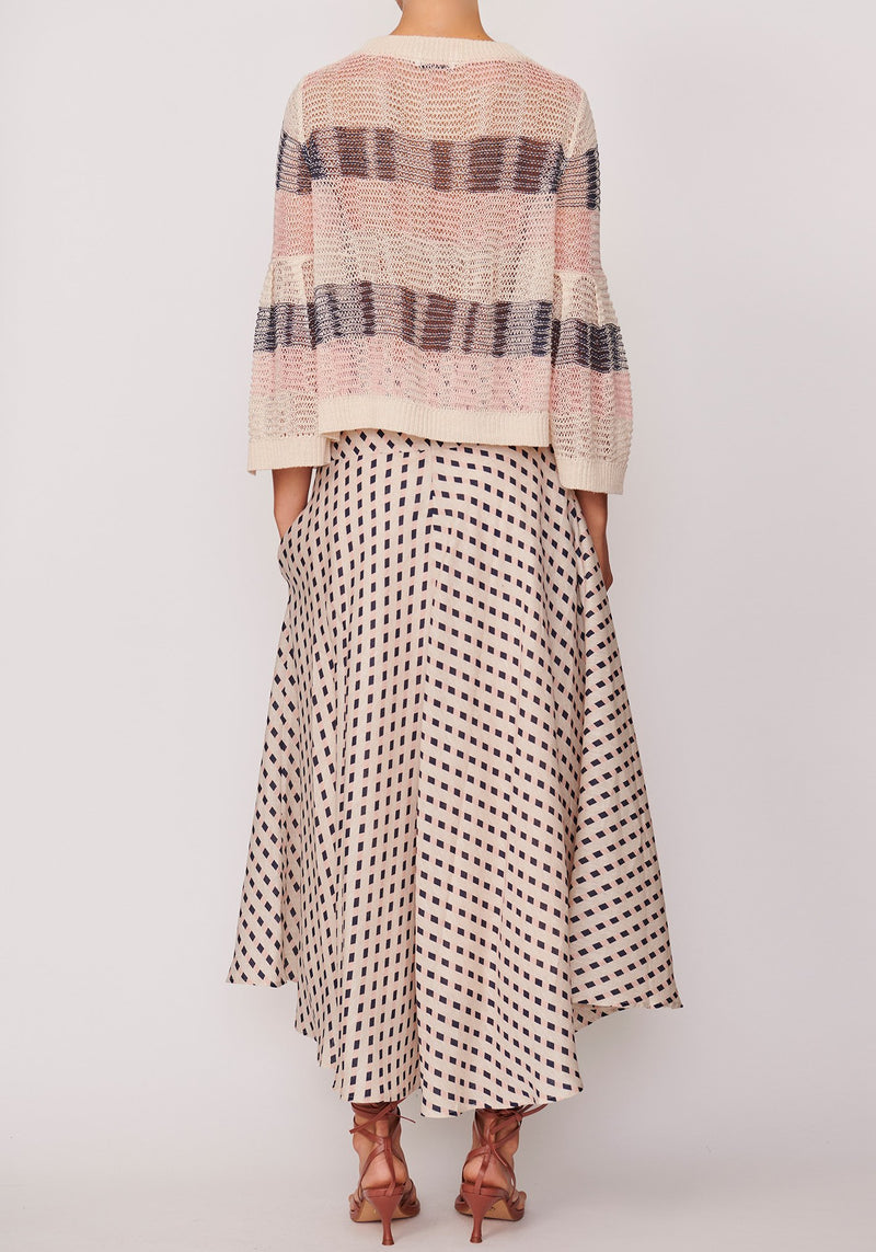 P O L / Kinetic Linen Knit / Natural/Pink