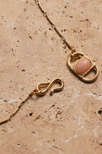 Bling Bar / Rosetta Necklace With Pink Stone / Gold