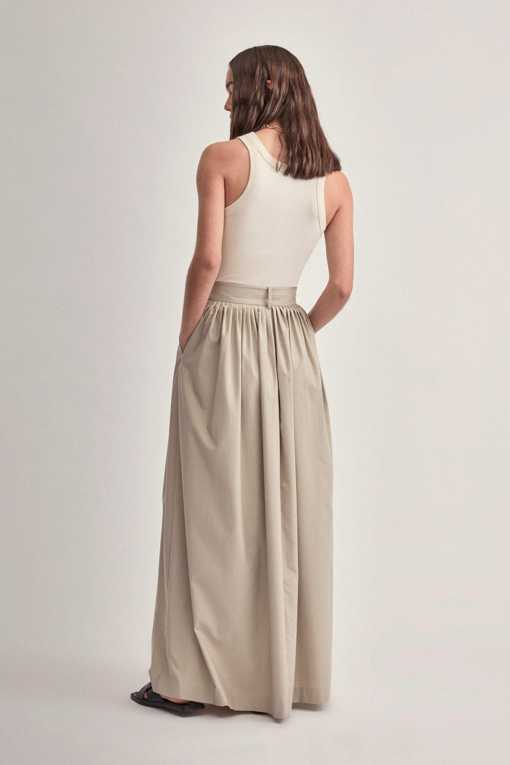 Camilla And Marc / Frost Pleat Maxi Skirt / Oyster