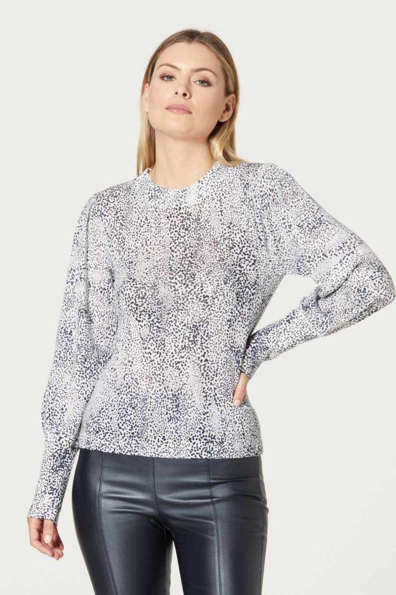 Cable / Superfine Print Jumper / Navy Spot