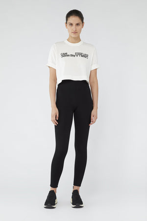 Camilla And Marc / Amelia Crop Logo Tee / White w Black