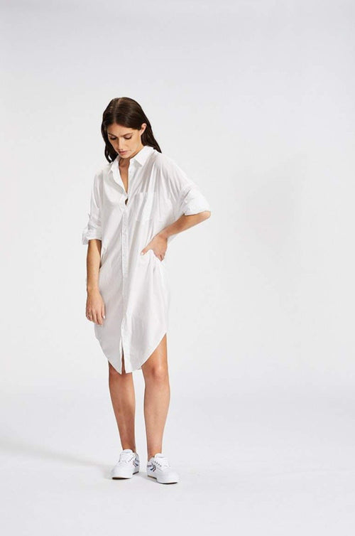 L M N D / Chiara Shirt Dress / White