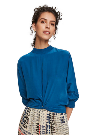 Maison Scotch / Femanine Top With Knot Detail / Lagoon Blue
