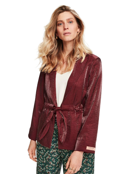 Maison Scotch / Belted Chic Blazer In Metallic / Plum