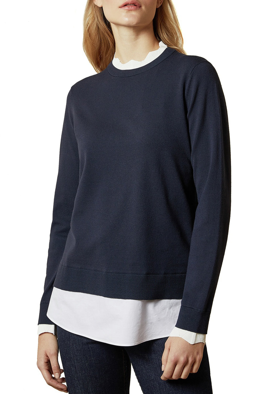 Ted Baker / Lleana Scallop Neck Detail Jumper / Navy