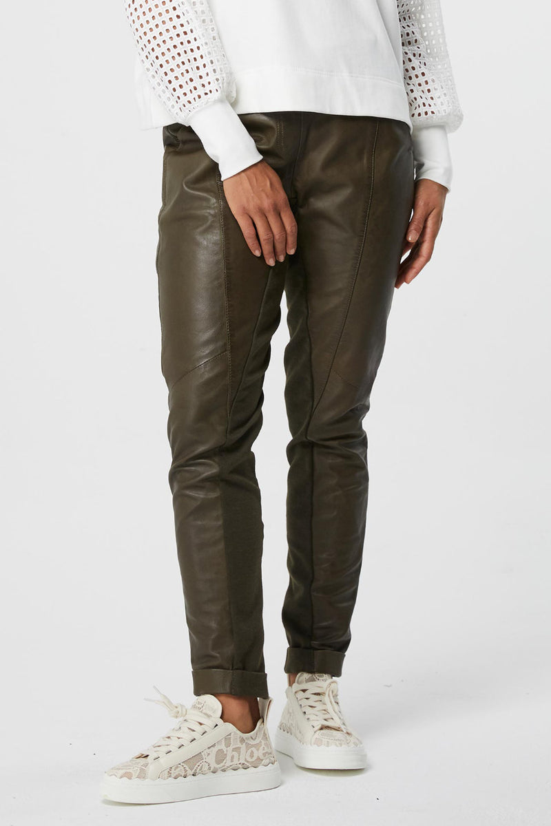 Once Was / Libreria Relaxed Leather Elastic Waist Pant / Khaki