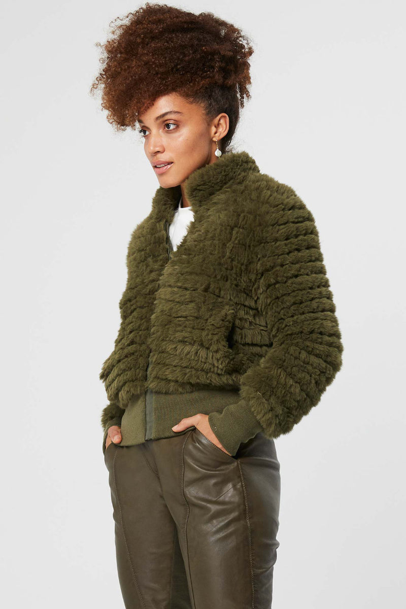 Once Was / Novella Faux Fur Bomber Jacket / Khaki