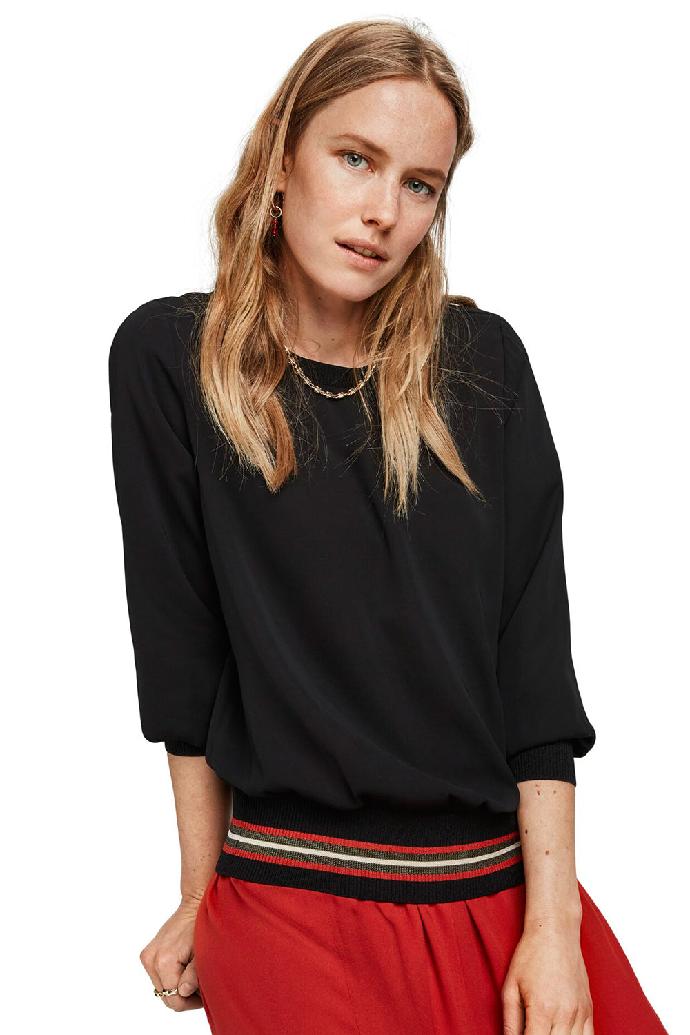 Maison Scotch / Top With Rib Details / Black