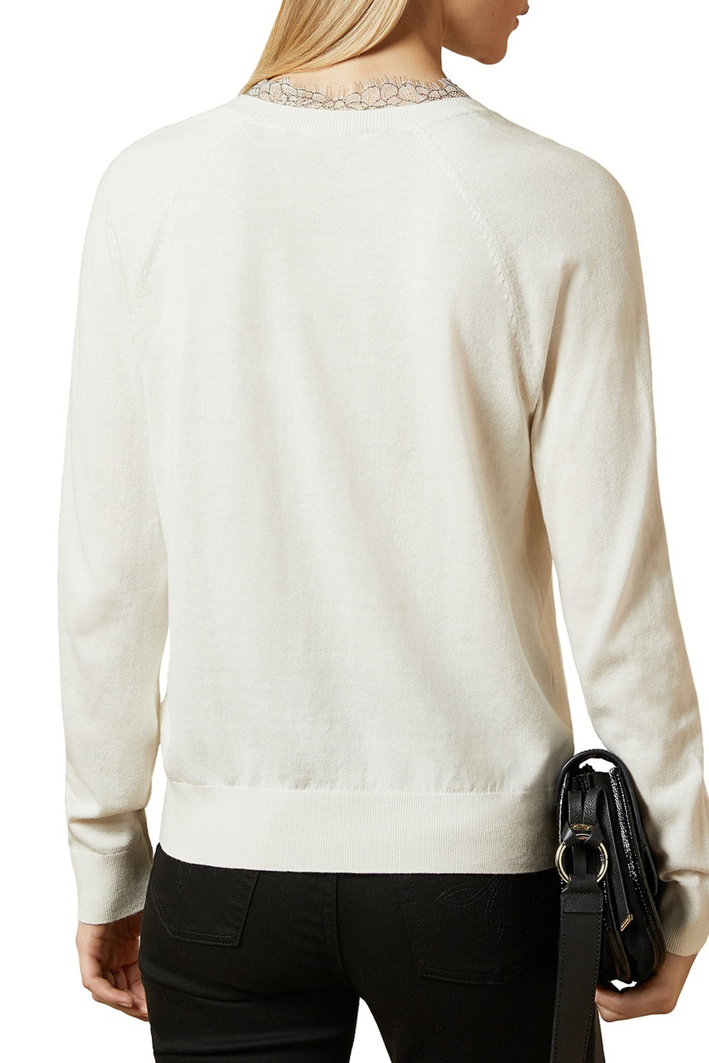 Ted Baker / Alyyiss Lace Insert V-Neck Jumper / Ivory