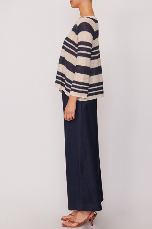 P O L / Monet Striped Knit / Navy/Natural