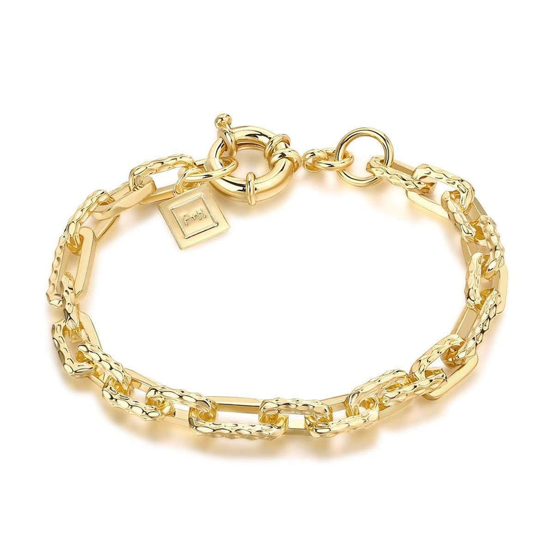 F+H Jewellery / Ramones Hammered Chain Bracelet / 18K Gold