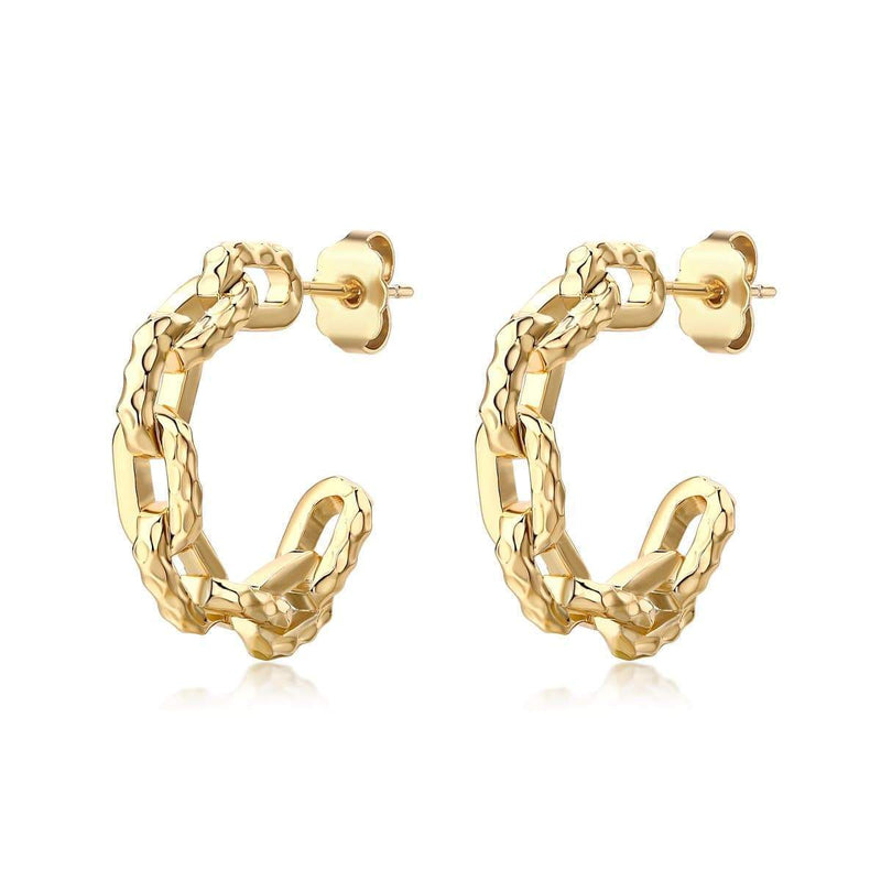 F+H Jewellery / Ramones Hammered Chain Hoops - Small / 18K Gold