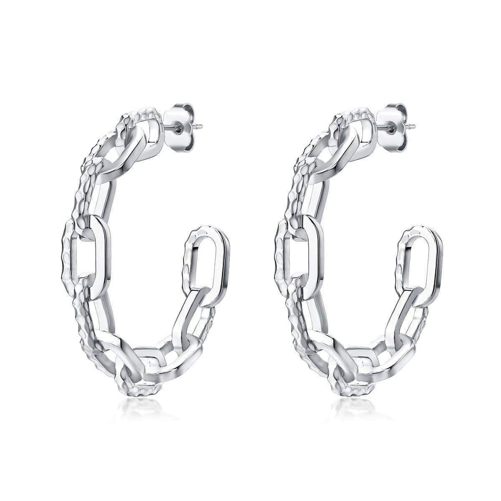 F+H Jewellery / Ramones Hammered Chained Hoops / Sterling Silver
