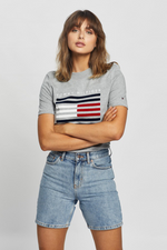 Tommy Hilfiger / Reg CN Flock Tee / Light Grey Heather